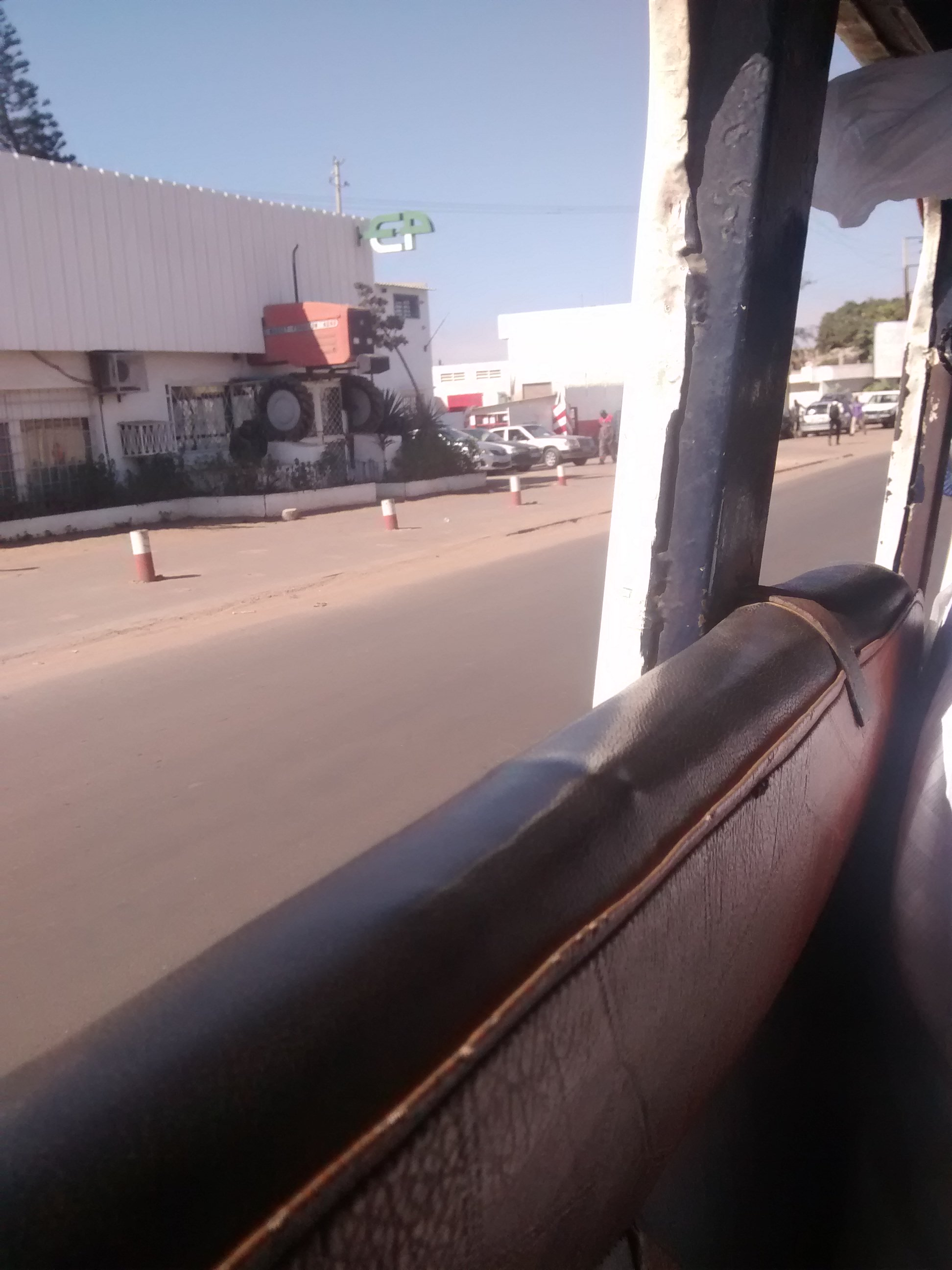 Travelling on local bus in Dakar, Senegal.