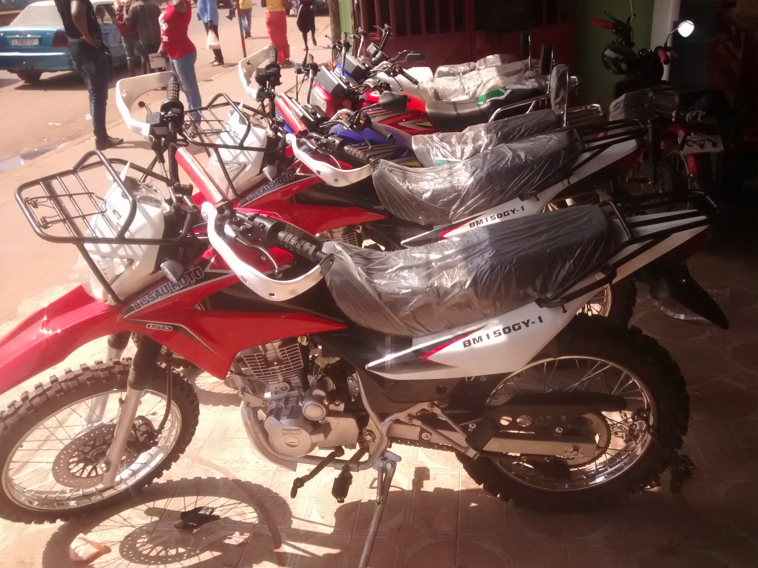 Brand new motorcycles for sale in Bissau, Guinea-Bissau.