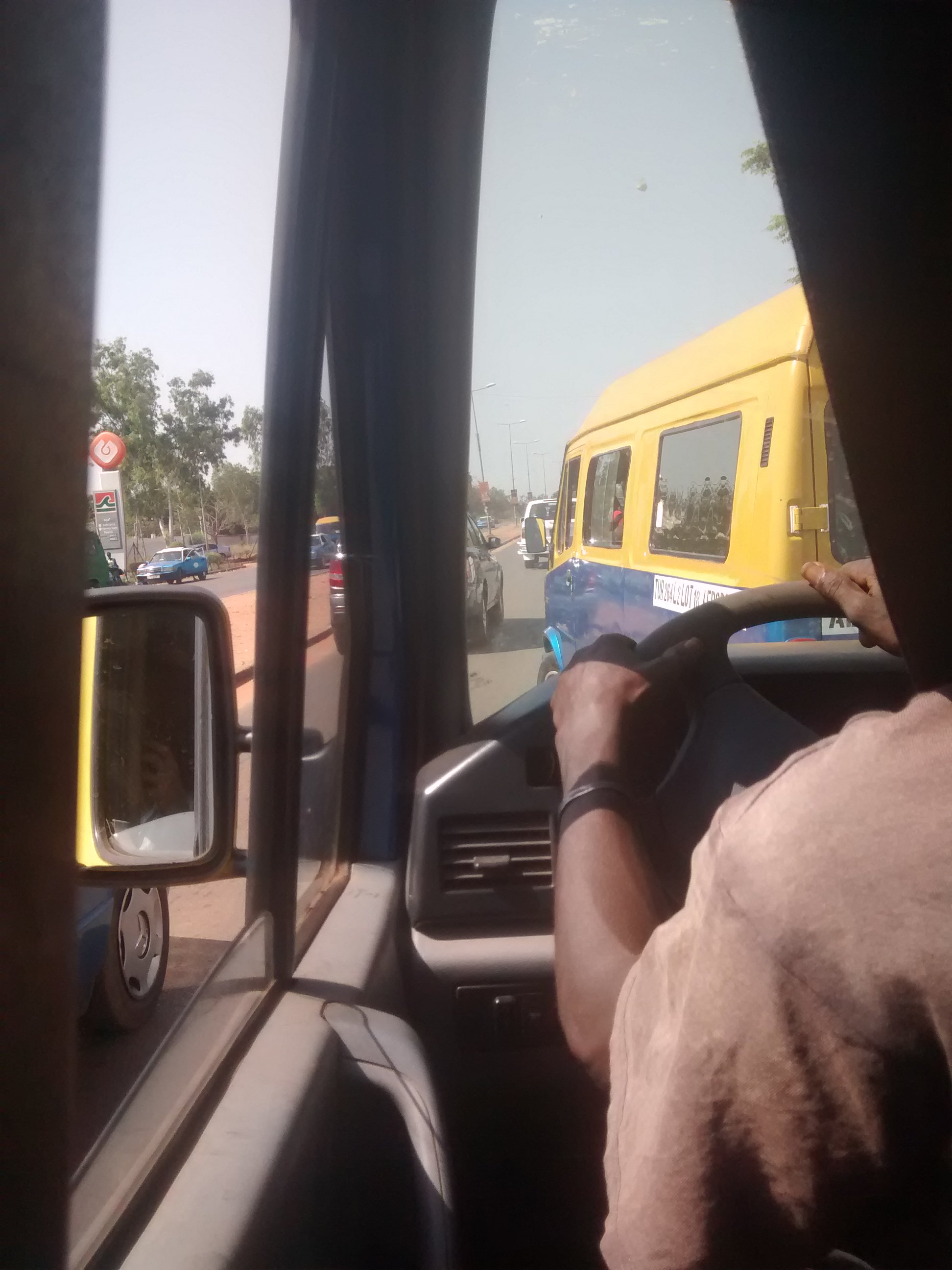 Getting the bus in Bissau, Guinea-Bissau.