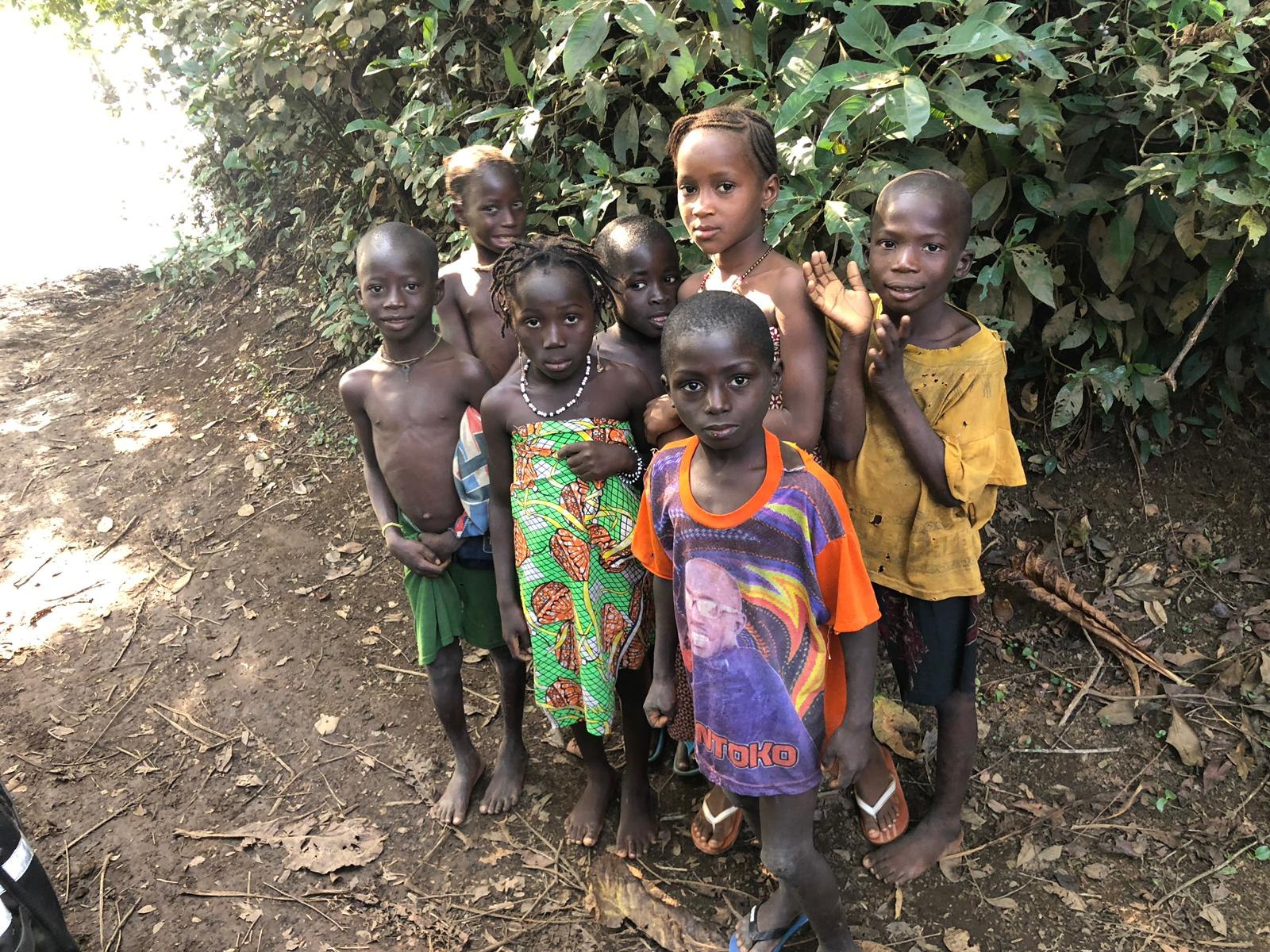 Local children at River Kogon when leaving Guinea-Bissau from Contabane to enter Guinea.