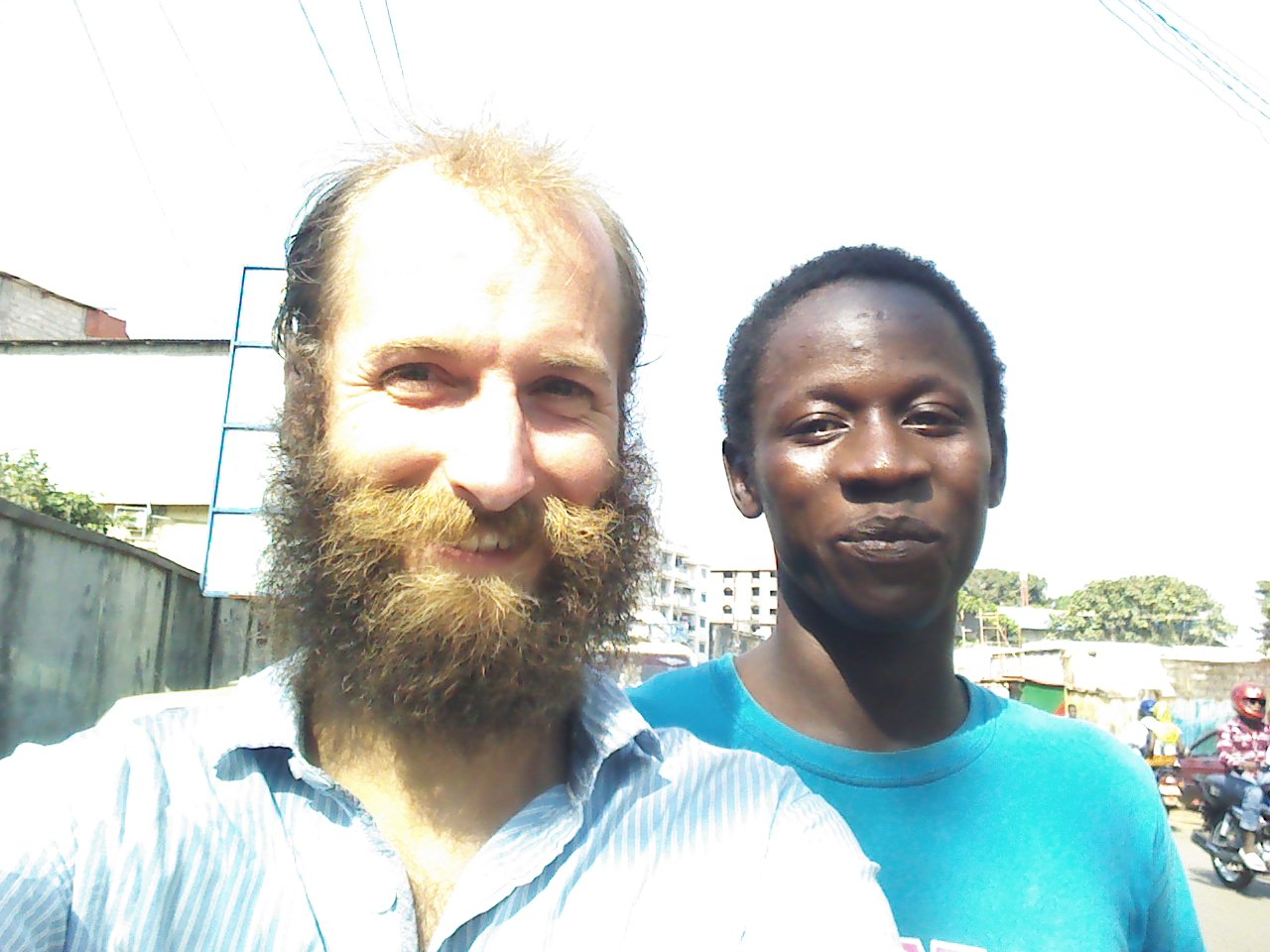 Myself (left) and Liberian friend (right), Conakry, Guinea.