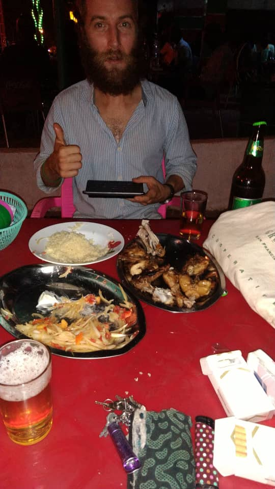 Enjoying chicken and acheke with @chloe_kira.creer. Abengourou, Cote d'Ivoire.