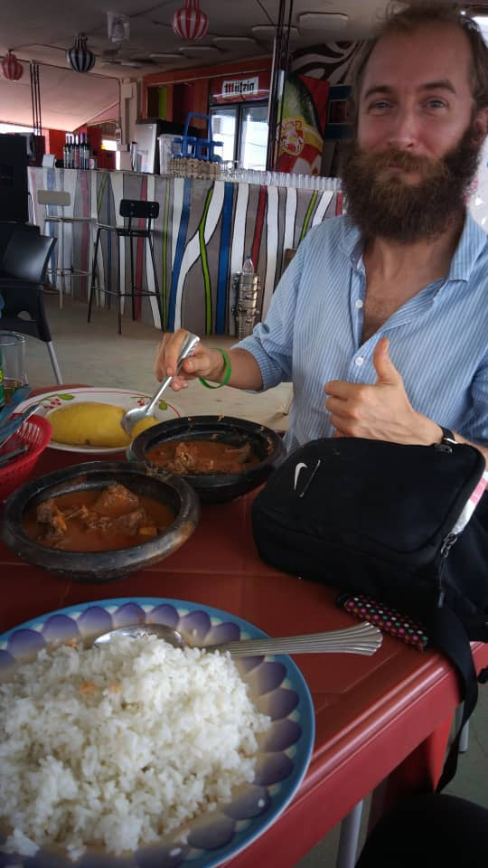 Eating foutou banane and meat dish with @chloe_kira.creer. Abengourou, Cote d'Ivoire.