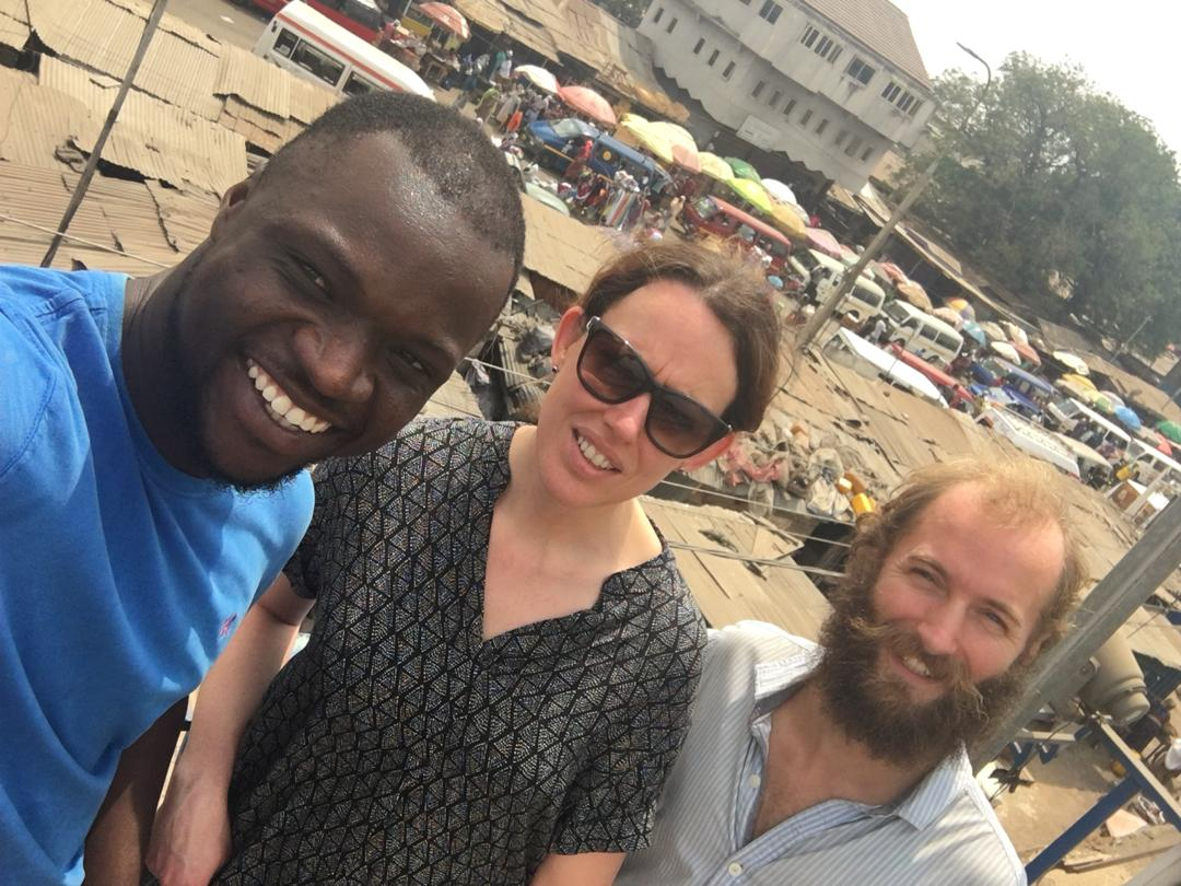 Hamza (left), fellow tour goer (middle), and myself (right). Nima, Ghana..