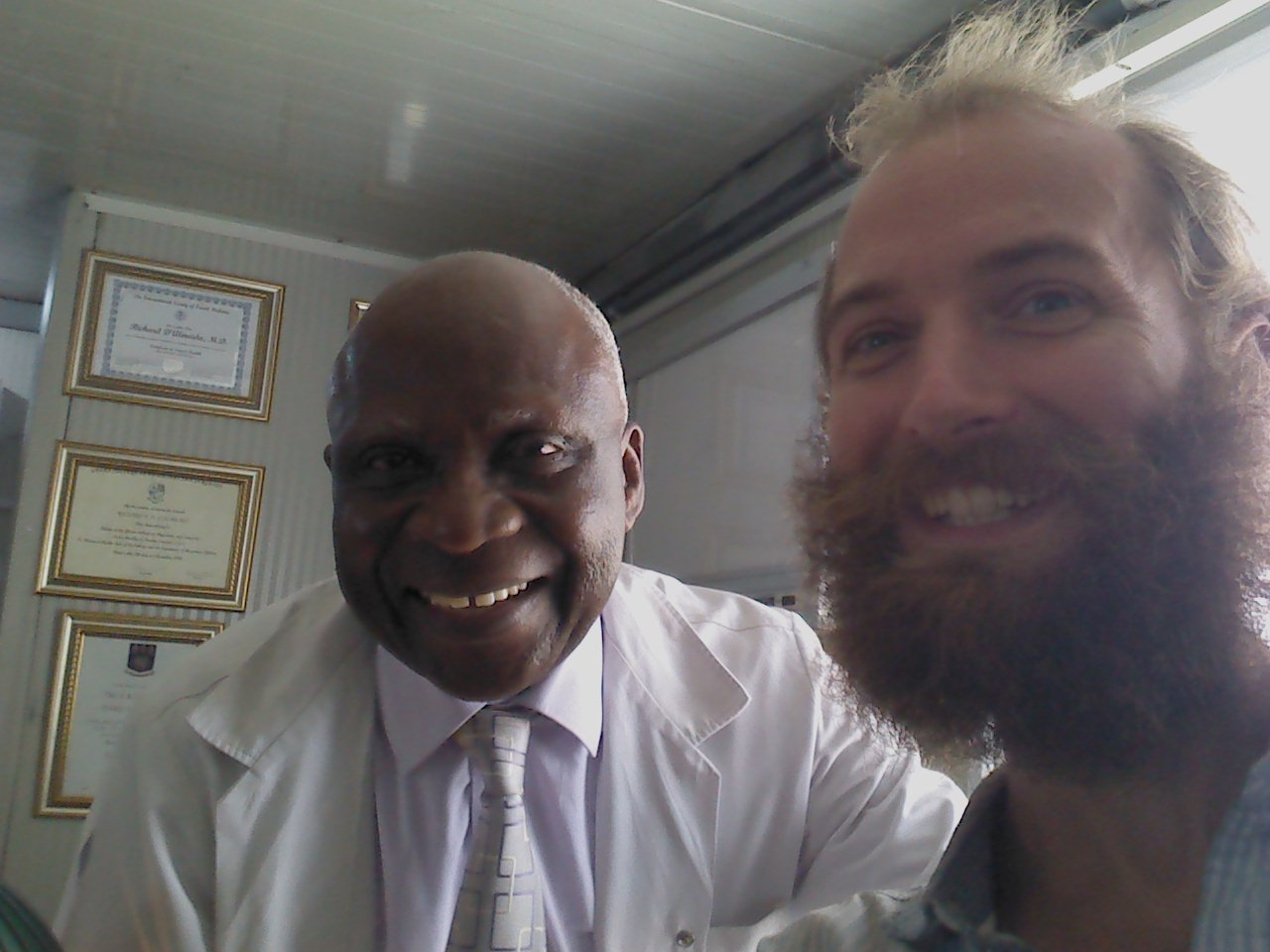 Dr Ricard (left) and myself (right) after vaccination in Accra, Ghana.