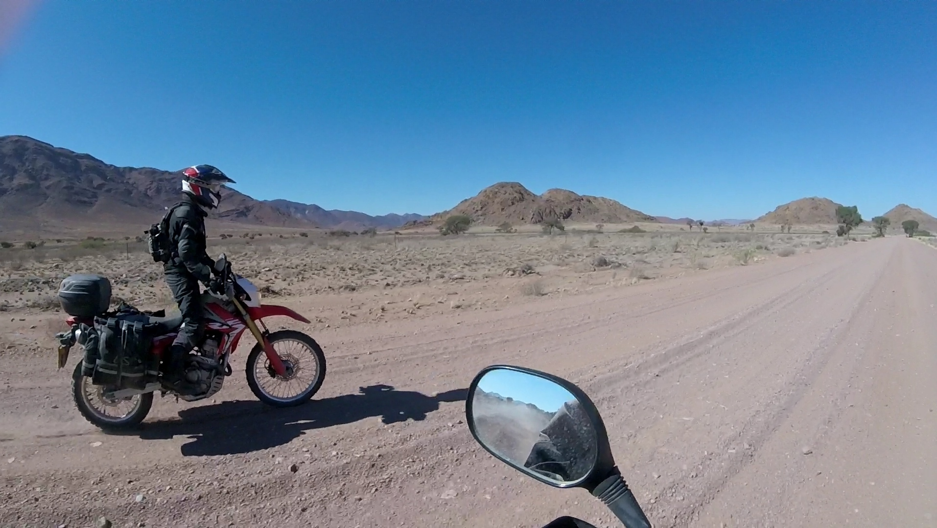 Back on the bike the day after a tumble. South Namibia.