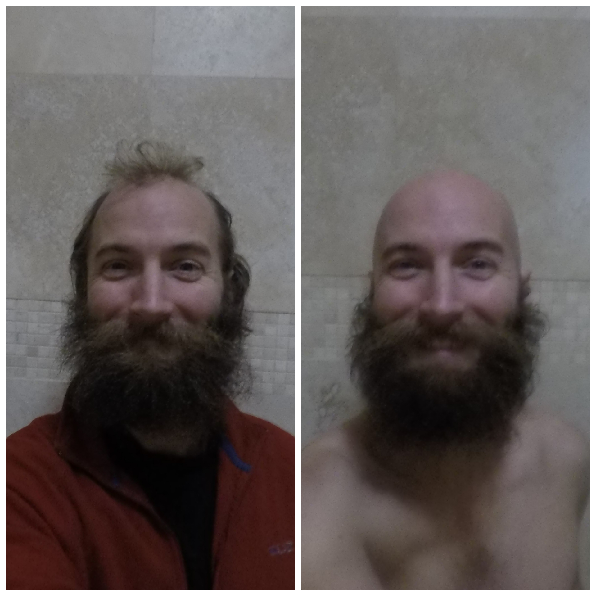 Before and after with scissors, single-blade disposable razor and shampoo.